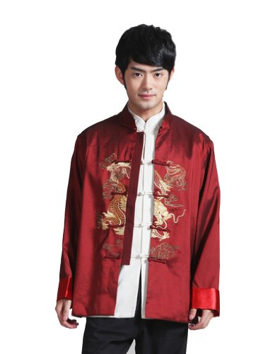 JTC Men's Chinese Top Kong Fu Tai Chi Sport Coat Dragon Embroidery Costume Red