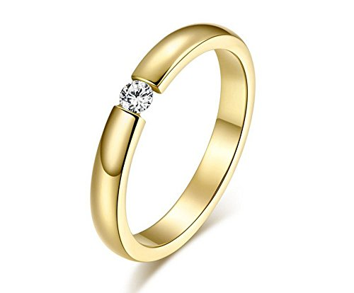 The New Diamond Ring Wedding Ring Personality Ring Single Drill Engagement Ring Wholesale Women'S R-023 (6, Golden)