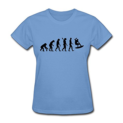 Woman Evolution Surfing Cool Tshirts Size M Color Sky