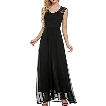 ANGVNS Women's Casual Deep- V Neck Sleeveless Vintage Maxi Dress