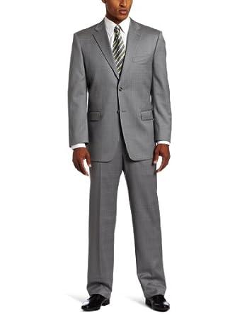 Jones New York Men's 24/7 Total Comfort Windowpane Suit, Gray, 38/Large