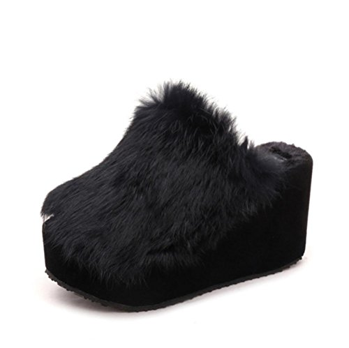 ZHLONG Ladies casual pantofole peluche all'interno per mantenere caldo in autunnali e invernali Pantofole , black , 38