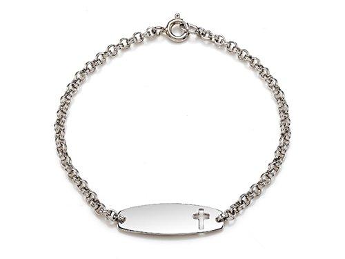 Sterling Silver Children Cross ID Bracelet LIFETIME WARRANTY