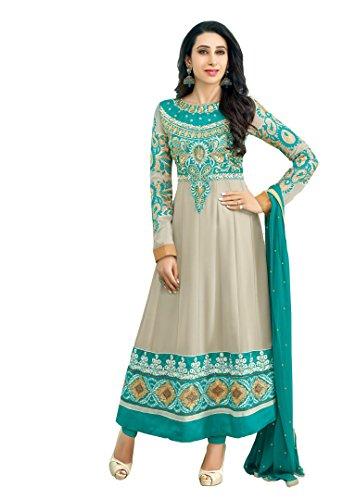 AIKA Beige & Bottle Green Color Georgette Fabric Salwar Suits