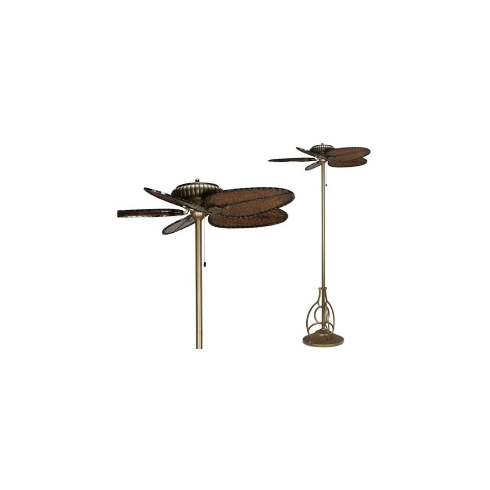 Tuscany Aged Bronze Indoor Outdoor Fan Antique Woven Bamboo Blades