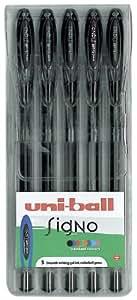 uni-ball Signo Gel UM-120 Rollerball Pens - Black, Pack of 5