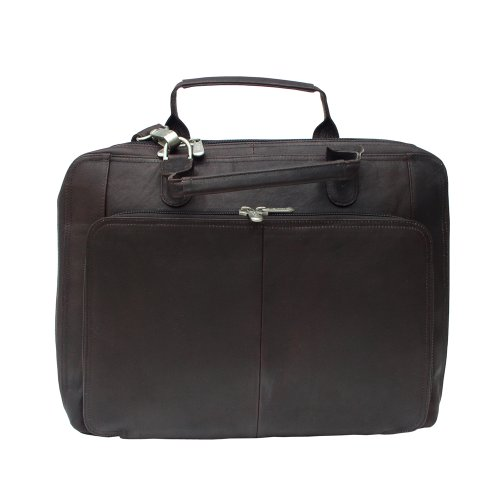 One Size Piel Leather Multi-Pocket Leather Carry-On Black
