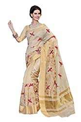 Laethnic beige embroidered chanderi saree