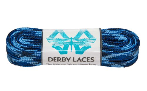 Blue Camouflage 108 Inch Waxed Skate Lace - Derby Laces for Roller Derby, Hockey and Ice Skates, and Boots - 1