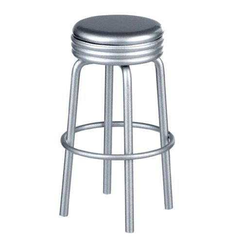 Dollhouse Miniature Silver Retro Diner Stool - 1