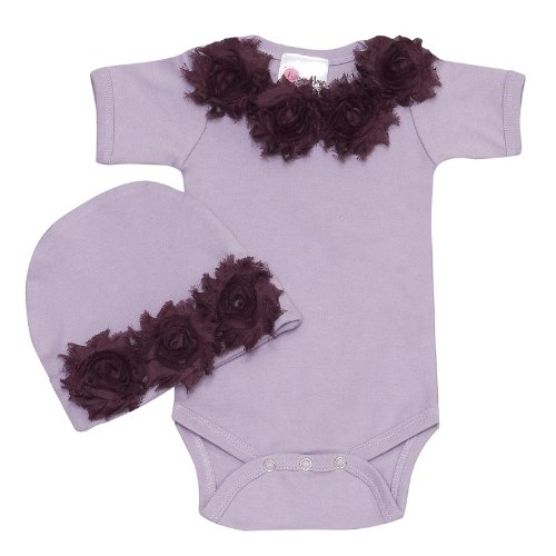 Lollipop Moon Shabby Chic Lavender Baby Romper Set front-917901