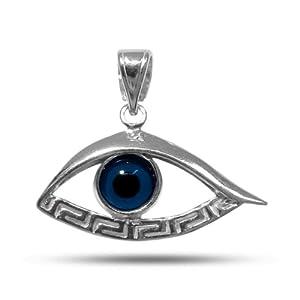 Sterling Silver Rhodium Plated Greek Key Evil Eye Pendant