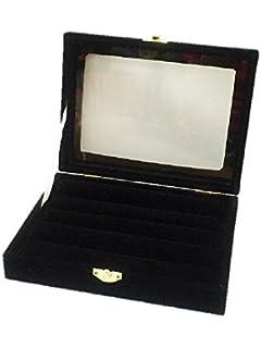 【ノーブランド品】ベルベット ジュエリーケース 5段 アクセサリー 指輪 ディスプレイ (ブラック)