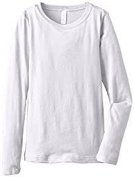 Clementine Big Girls\' Everyday Long Sleeve Tee, White,Large (10-12)