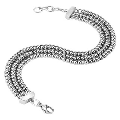 316L Stainless Steel Triple Link Steel IP Beaded Bracelet
