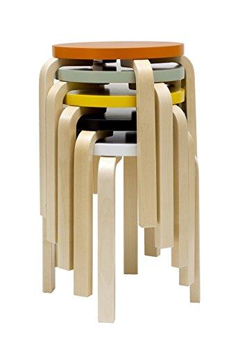 Artek - E60 Hocker - Beine Birke / Sitz türkis - Alvar Aalto - Design - Esszimmerstuhl - Küchenstuhl - Speisezimmerstuhl