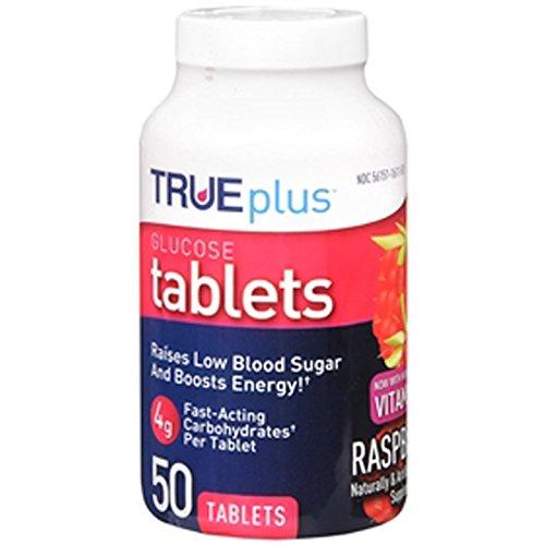 True Plus Glucose Tablets, Raspberry - 50Ct