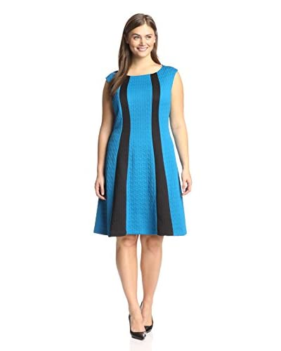 London Times Plus Women's Colorblock Fit-and-Flare Dress