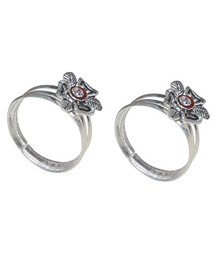 Kataria Jewellers Antique Lovely Flower Silver Toe Ring Pair