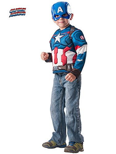 Captain America Muscle Chest Shirt Set Costume for Kids