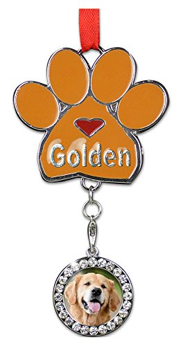Golden Retriever Paw Print Ornament Dog Charm with Detachable Photo Frame Chrome Metal 3.5 Inch