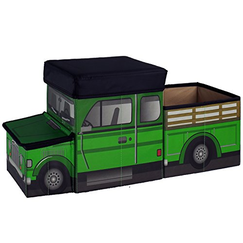 Green Truck Tractor Ride On Box to Store State Farm Animals, Ranch Equipment Playsets And Dodge Pickup Trailer Toys. Unique, Cool Gift Gadget for Birthday Party of Boy or Man (Farm Tractor Parts For Yanmar compare prices)