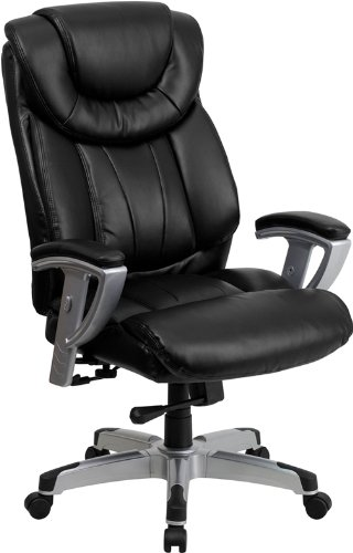 Big Man's 400LB Capacity Black Leather Double Padded Executive Office Desk Chairs #1534