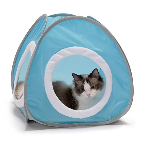Kitty Cozy Tent with Crinkle Pad (Baby blue) cat bed