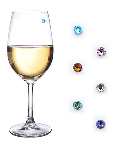 Swarovski Crystal Magnetic Drink Markers & Wine Charms Set of 6 Pastel Spring Colors - Works on Stemless Glasses, Champagne Flutes, Whiskey Glasses and More