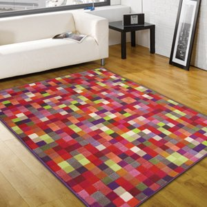 Retro Funky Pixel rug. 120x160cm. Pink Purple Red. Easy to care for. UK MAINLAND POSTAGE ONLY by Rugs with Flair
