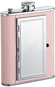"""Visol """"Claudia"""" Leatherette Stainless Steel 6-Ounce Pink Hip Flask with Built-In Cigarette Case"""