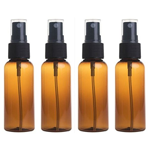 Sinide Empty Plastic Fine Mist Spray Bottle 1 oz Pump Refillable Cosmetic Perfume Atomizer Perfect for Essential Oils 30ML (Pack of 4) (Amber) (Dark Amber Spray compare prices)