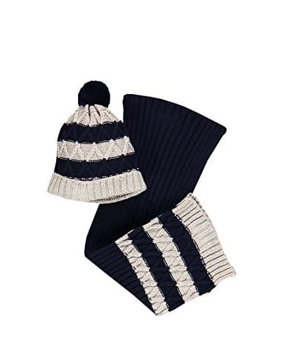 Brums Set Cappello E Sciarpa Tricot [Blu]