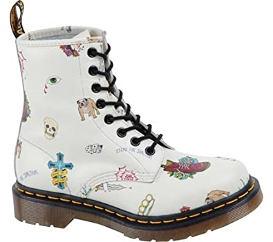 Dr. Martens Women's Pascal 8-Eye Boot,Off White Skins Tattoo Softy T,UK 4 M
