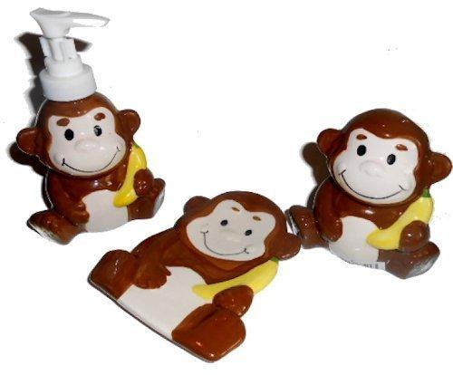 monkey bathroom accessories lotion soap dispenser soap dish toothbrush holder home garden