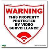 Warning Property Protected By Video Surveillance - Business Store Sign - Window Wall Sticker