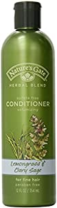 Nature's Gate Organics Conditioner, Lemongrass & Clary Sage, 12-Ounce Bottles (Pack of 3)