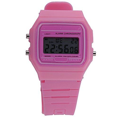 ATOZ Damen Mädchen Mode Gummi Silikon Band Digital Uhren Stoppuhr Armbanduhr (Pink)