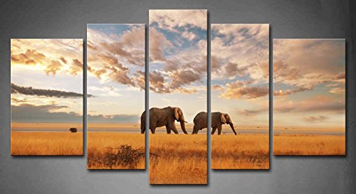 5 Panel Wall Art Brown Savannah Two Elephanat Walk On Dry Grassland Painting The Picture Print On Canvas Animal Pictures For Home Decor Decoration Gift Piece (Stretched By Wooden Frame,Ready To Hang)