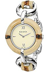 """Gucci Women's YA132404 """"Special Edition"""" Bamboo and Stainless Steel Watch"""