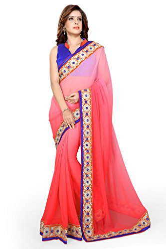 Sourbh Sarees Peach Chiffon Lace Work Saree for Women Party Wear