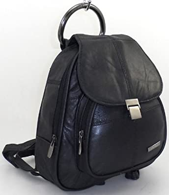 GENUINE LEATHER BACKPACK, BLACK (1955)