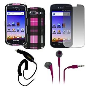 EMPIRE® Samsung Galaxy S Blaze 4G T769 Rubberized Design Case Cover (Pink Plaid) + 3.5mm Stereo Earbud Headphones (Hot Pink) + Screen Protector + Car Charger [EMPIRE® Packaging]