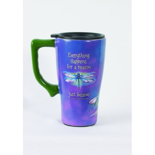 Purple Dragonfly EVERYTHING Happens for a Reason COFFEE TRAVEL Mug NEW