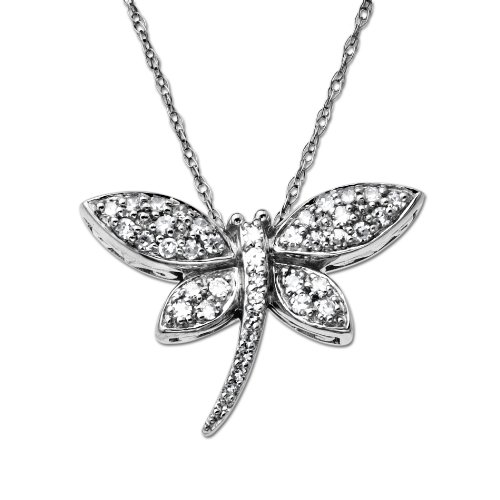 10k White-Gold Diamond Dragon Fly Pendant (0.20 cttw, I-J Color, I3 Clarity), 18
