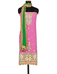 Kalki Fashion Pink Unstitched Suit Embellished In Gotta Patti Cut Work Embroidery Only On Kalki