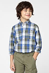 Boy's Long Sleeve Large Check Shirt With Adjustable Sleeves