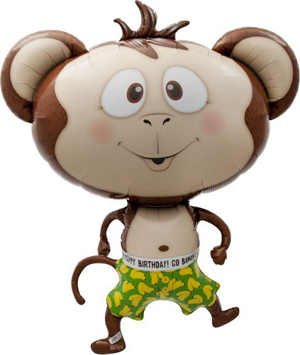 Birthday Banana Monkey Helium Foil Balloon - 41 inch