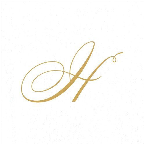 Entertaining with Caspari White Pearl Paper Linen Cocktail Napkins, Monogram Initial H, Pack of 30
