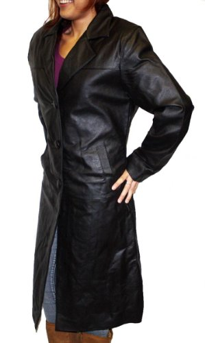 Women's Long Trench coat Button Closure Black Genuine Leather Jacket -Medium